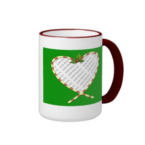 Candy Cane Heart Add Your Photo Frame Mug