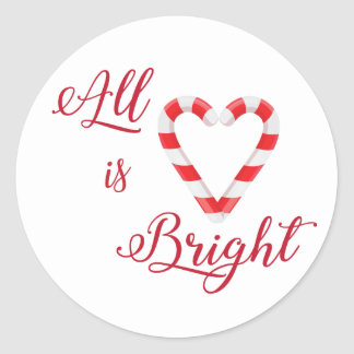 Candy Cane Heart All is Bright Classic Round Sticker