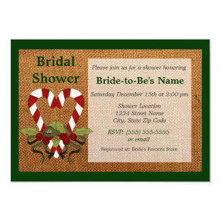 Candy Cane Heart Bridal Shower Invitation - Green