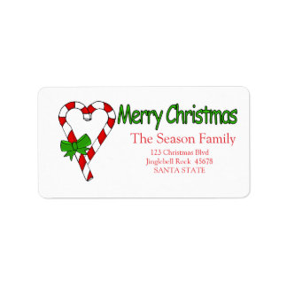 Candy Cane Heart  Merry Christmas  address label