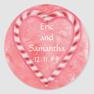 Candy Cane Heart Pink Save the Date Stickers