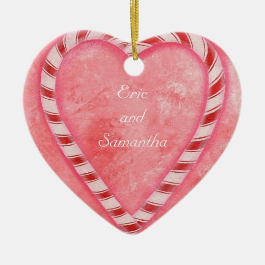 Candy Cane Heart Wedding Ornament, Personalised Ceramic Heart