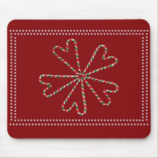 Candy Cane Hearts Mouse Pad