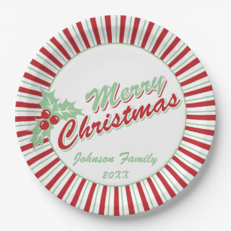 Candy Cane Holly | Custom Christmas Paper Plates