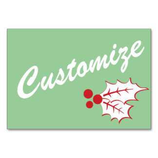 Candy Cane Holly | Retro Custom Table Card 3 x 5
