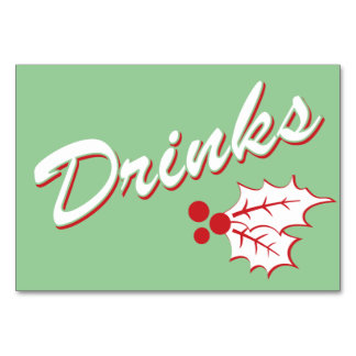 Candy Cane Holly | Retro Drinks Table Card 3 x 5
