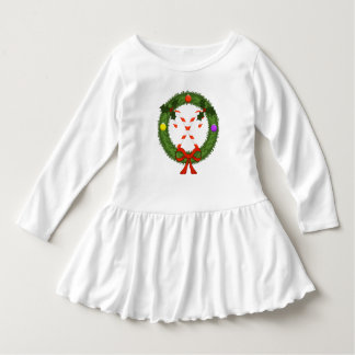Candy Cane in Wreath Toddler Ruffle Dress