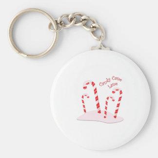 Candy Cane Lane Basic Round Button Keychain