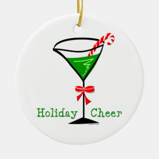 Candy Cane Martini Christmas Ornament