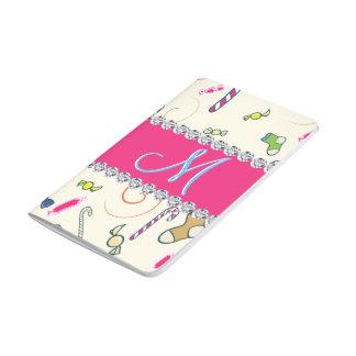 Candy Cane Monogram Hot Pink Diamond Initial Journal