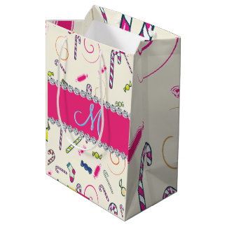 Candy Cane Monogram Hot Pink Diamond Initial Medium Gift Bag