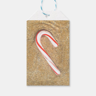 Candy Cane on Beach Gift Tags