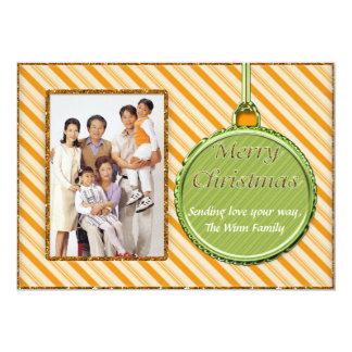 Candy Cane Orange Christmas Ornament Photo Card 13 Cm X 18 Cm Invitation Card