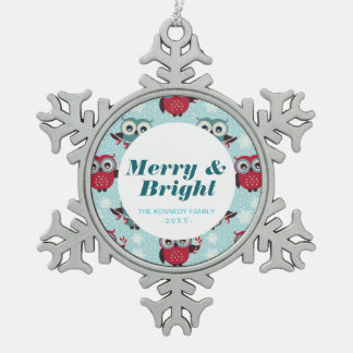 Candy Cane Owls Pewter Snowflake Decoration
