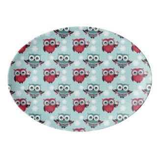Candy Cane Owls Porcelain Serving Platter