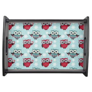 Candy Cane Owls Serving Tray