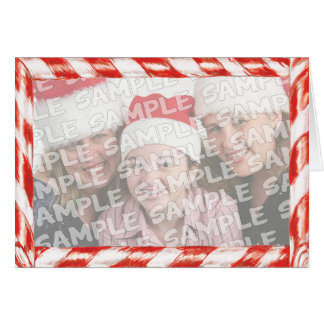 Candy Cane Photo Frame Christmas Portrait Greeting Card