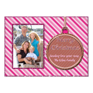 "Candy Cane Pink Christmas Ornament Photo Card 5"" X 7"" Invitation Card"