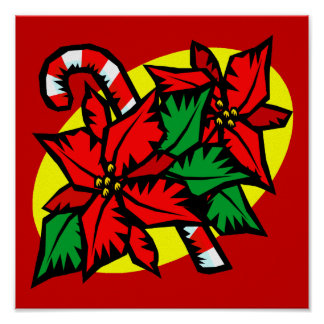 candy cane poinsettia poster