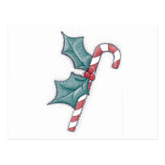 Candy Cane Pointillism Post Cards