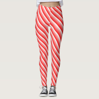 Candy cane racing stripe leggings
