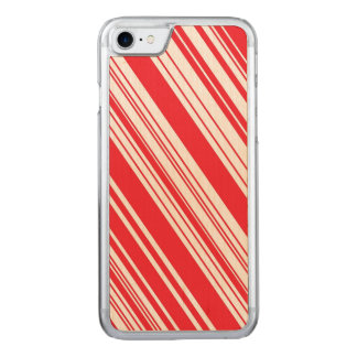 Candy Cane Red and White Diagonal Multi Stripes Carved iPhone 7 Case