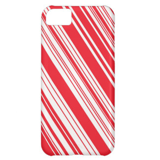 Candy Cane Red and White Diagonal Multi Stripes iPhone 5C Case