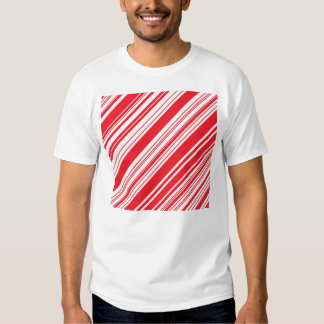 Candy Cane Red and White Diagonal Multi Stripes Tshirt