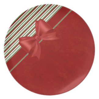 Candy Cane Red Bow Dinner Plate
