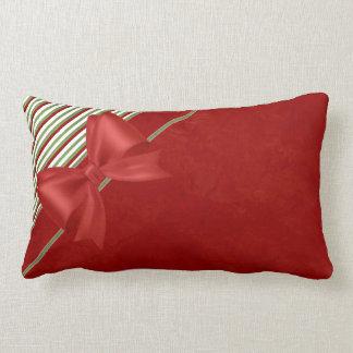 Candy Cane Red Bow Lumbar Pillow