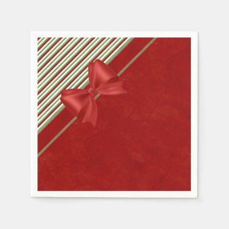 Candy Cane Red Bow Paper Napkin