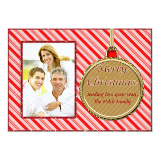 "Candy Cane Red Christmas Ornament Photo Card 5"" X 7"" Invitation Card"