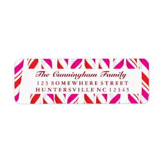 Candy Cane Red & Pink Background Return Address Label