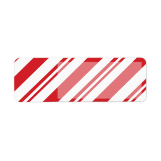 Candy cane red stripes pattern return address label