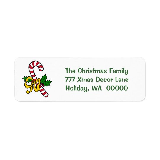 Candy Cane Ribbon Holiday Xmas Christmas Address Return Address Label