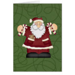 Candy Cane Santa Greeting Card