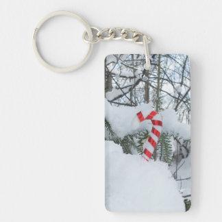 Candy Cane Seasonal Decoration Single-Sided Rectangular Acrylic Key Ring