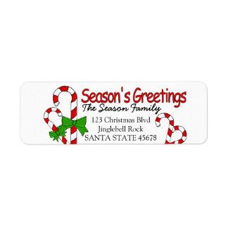 Candy Cane Season's Greetings Return Address Label