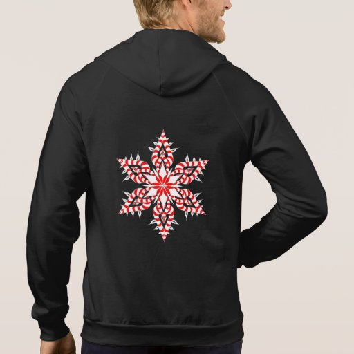 Candy Cane Snowflake - Black Fleece Hoodie