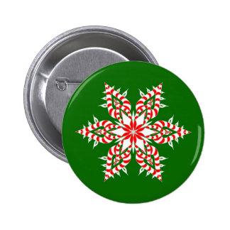 Candy Cane Snowflake - Button