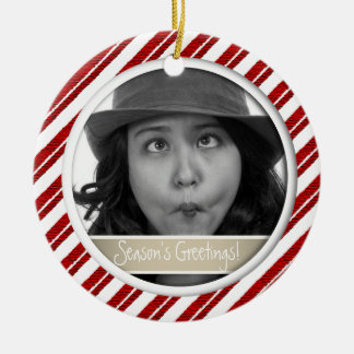 Candy Cane Stripe Framed Holiday Photo Ornament