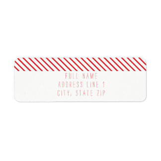 Candy Cane Stripe Holiday Return Address Label