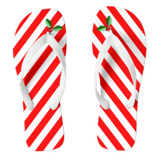 Candy Cane Stripe & Holly Sprig Holiday Flip Flops