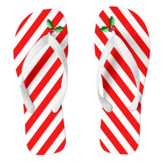 Candy Cane Stripe & Holly Sprig Holiday Flip Flops