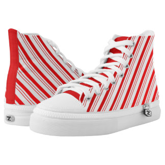 Candy Cane Striped High Top ZIPZ® Shoes