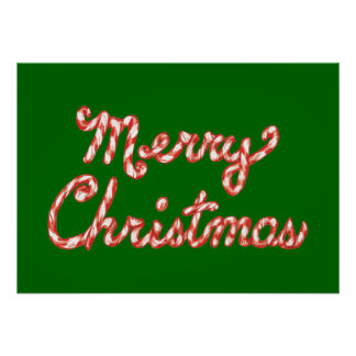 Candy Cane Striped Merry Christmas Poster
