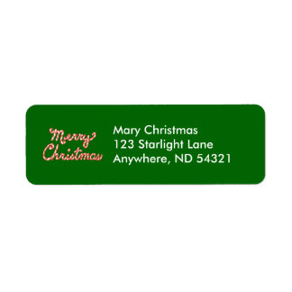 Candy Cane Striped Merry Christmas Return Address Label