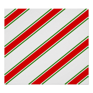 Candy cane striped pattern poster