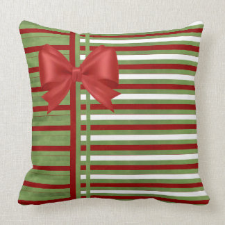 Candy Cane Stripes and Bow Cushion