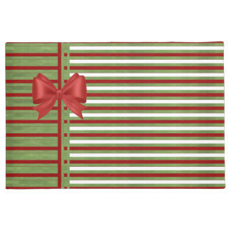 Candy Cane Stripes and Bow Doormat